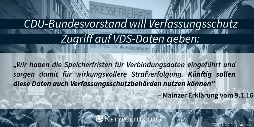 CDU verspricht Verfassungsschutz den Zugriff auf Vorratsdatenspeicherung